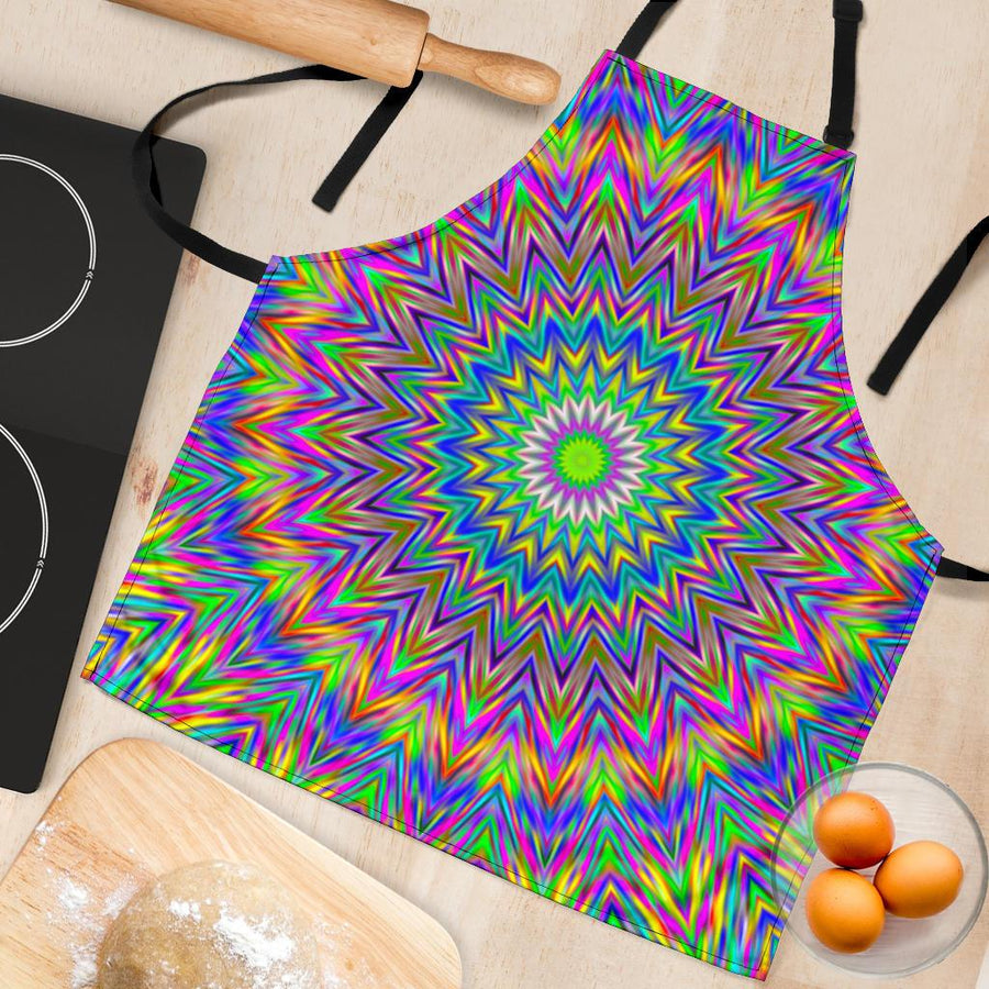 Colorful Psychedelic Optical Illusion Women's Apron GearFrost