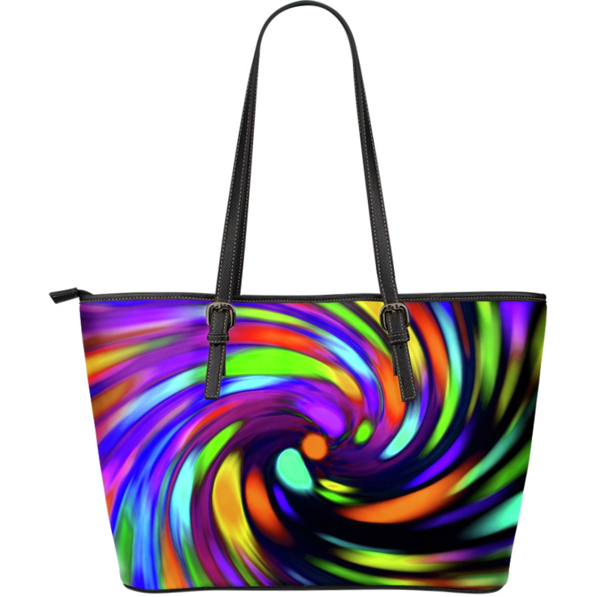 Colorful Spiral Trippy Print Leather Tote Bag GearFrost