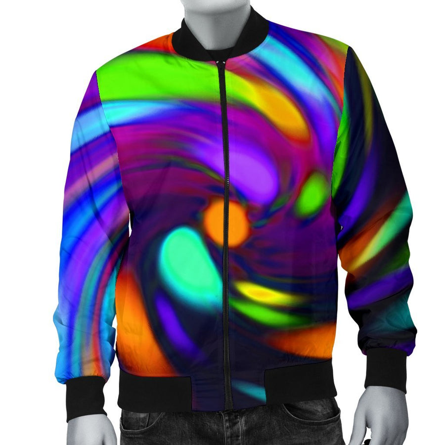 Colorful Spiral Trippy Print Men's Bomber Jacket GearFrost
