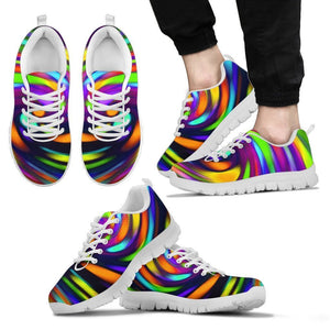 Colorful Spiral Trippy Print Men's Sneakers GearFrost