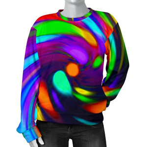 Colorful Spiral Trippy Print Women's Crewneck Sweatshirt GearFrost