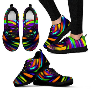 Colorful Spiral Trippy Print Women's Sneakers GearFrost