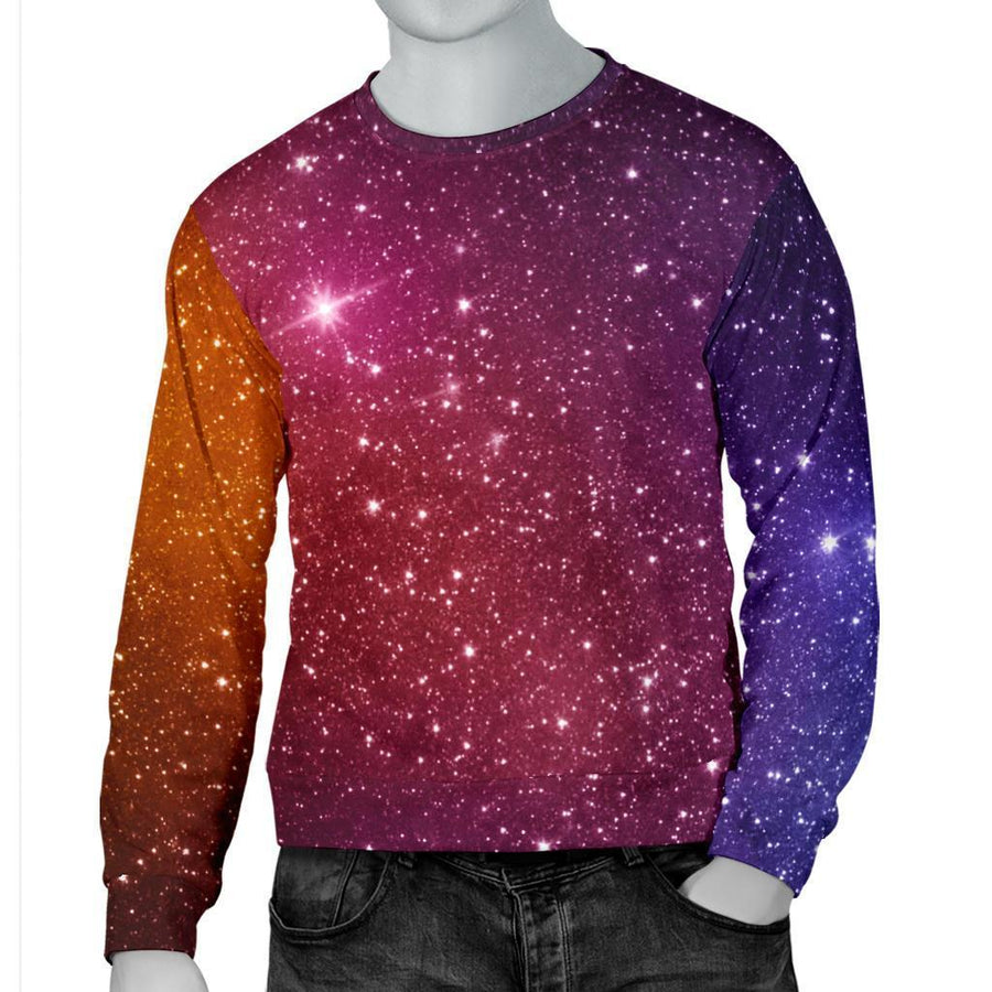 Colorful Stardust Galaxy Space Print Men's Crewneck Sweatshirt GearFrost