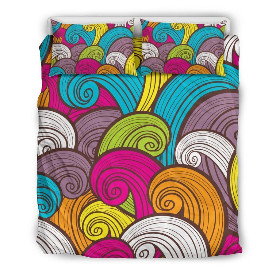 Colorful Surfing Wave Pattern Print Duvet Cover Bedding Set GearFrost
