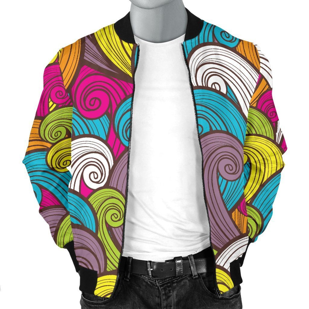 Colorful Surfing Wave Pattern Print Men's Bomber Jacket GearFrost