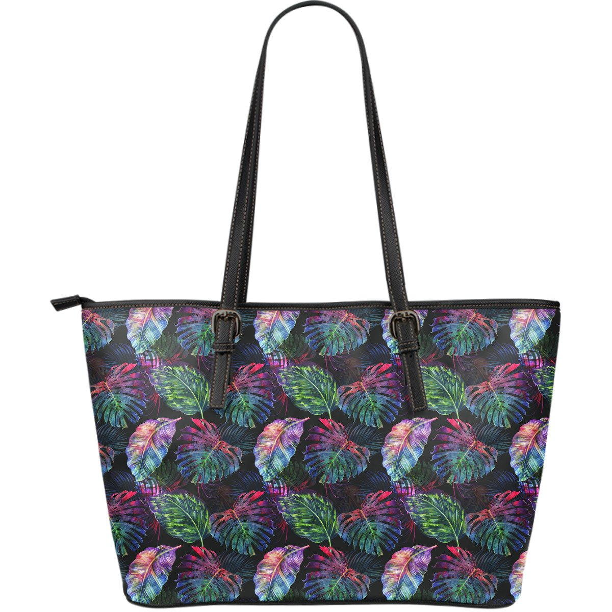 Colorful Tropical Leaves Pattern Print Leather Tote Bag GearFrost