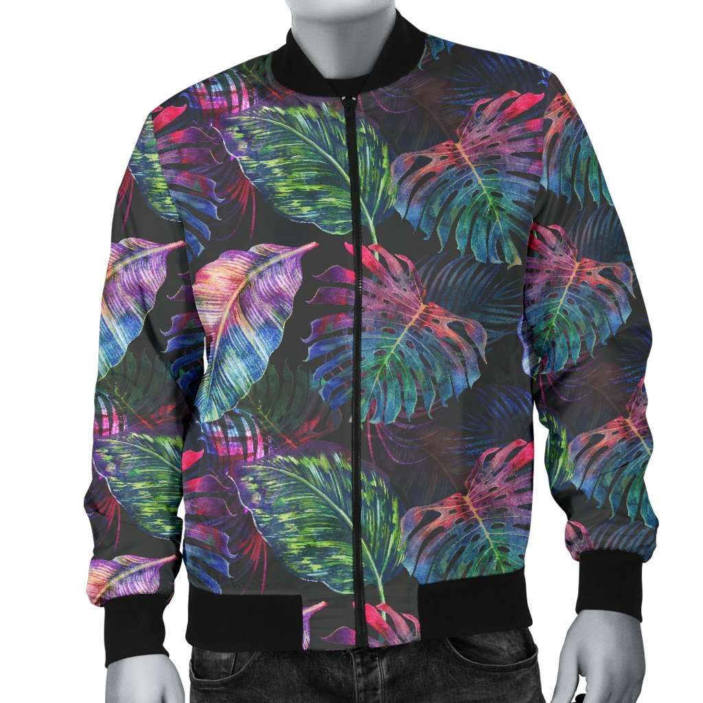 Colorful Tropical Leaves Pattern Print Men's Bomber Jacket GearFrost