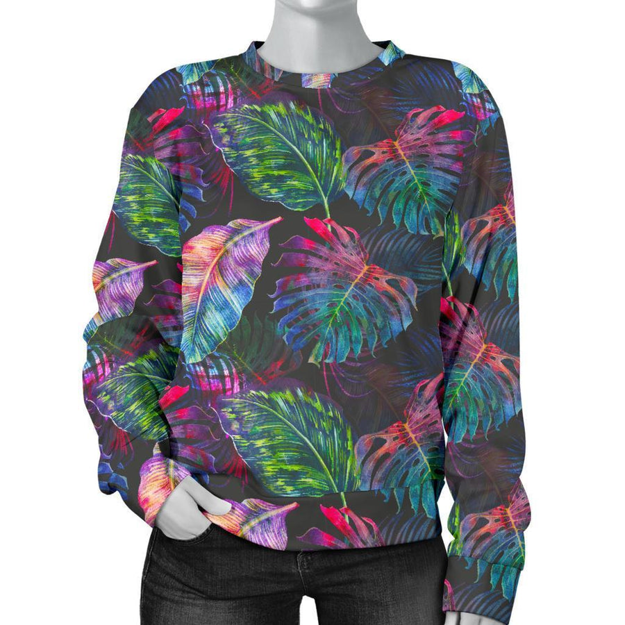 Colorful Tropical Leaves Pattern Print Women's Crewneck Sweatshirt GearFrost