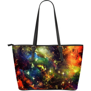 Colorful Universe Galaxy Space Print Leather Tote Bag GearFrost