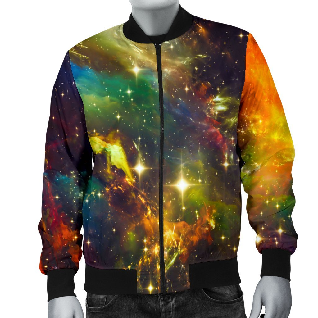 Colorful Universe Galaxy Space Print Men's Bomber Jacket GearFrost