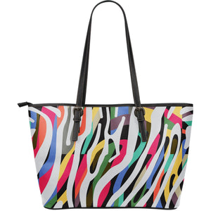 Colorful Zebra Pattern Print Leather Tote Bag