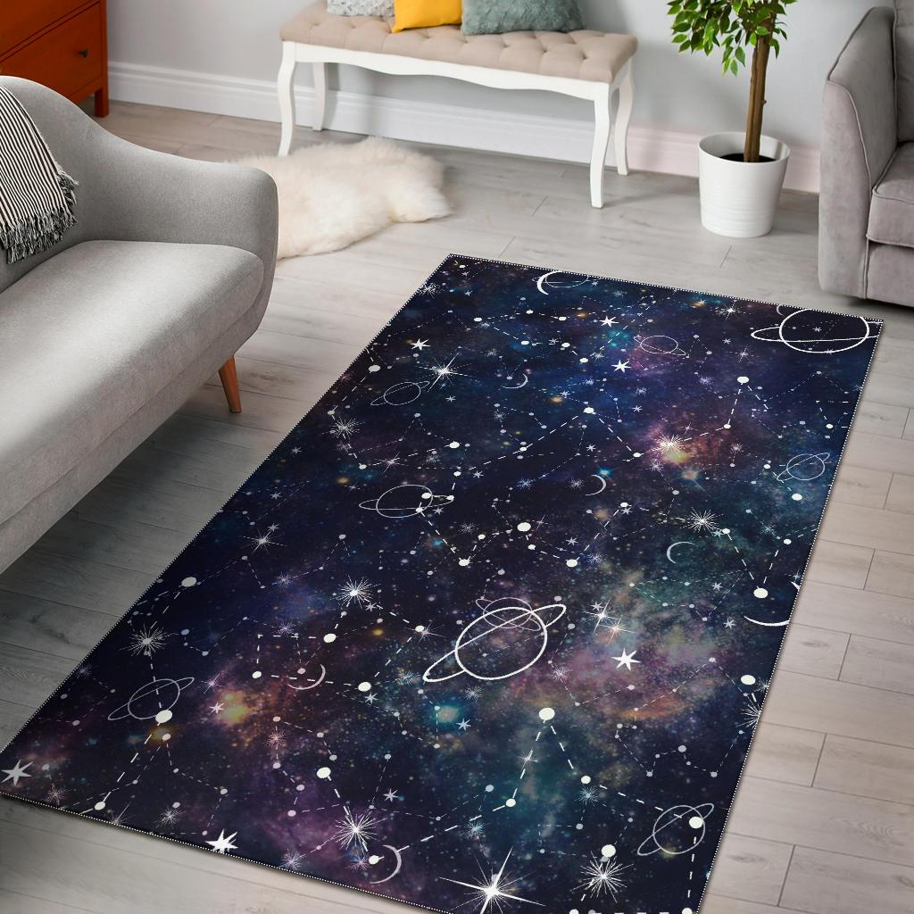 Constellation Galaxy Space Print Area Rug GearFrost