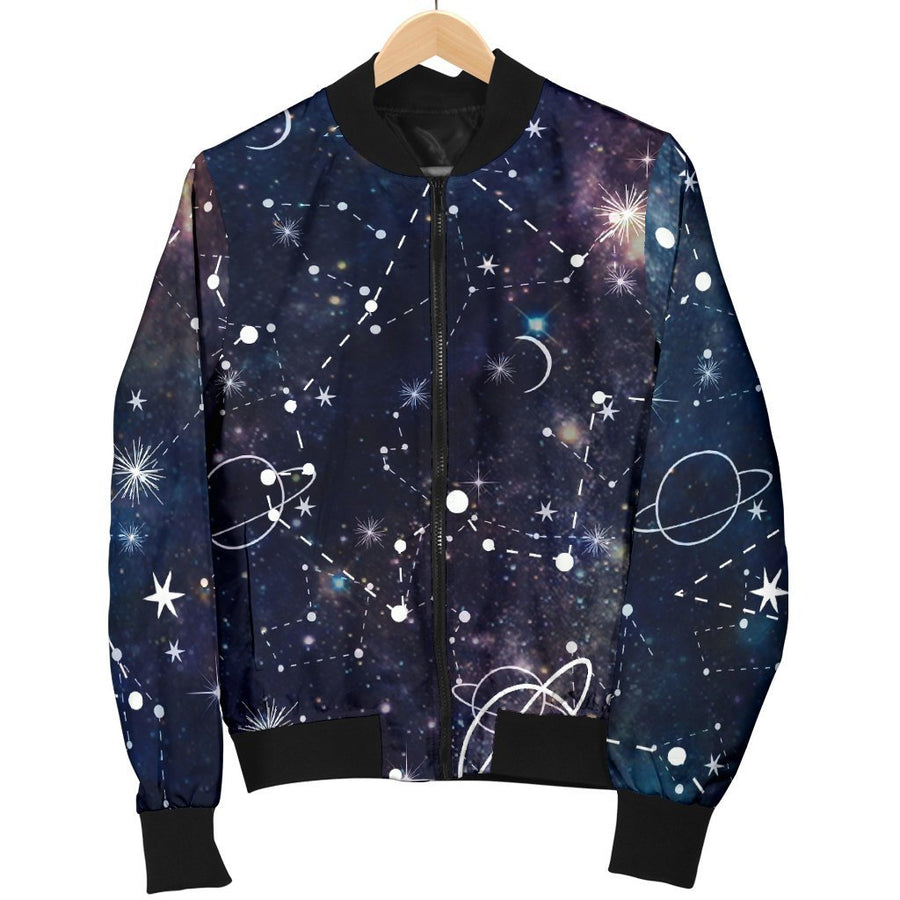 Constellation Galaxy Space Print Men's Bomber Jacket GearFrost