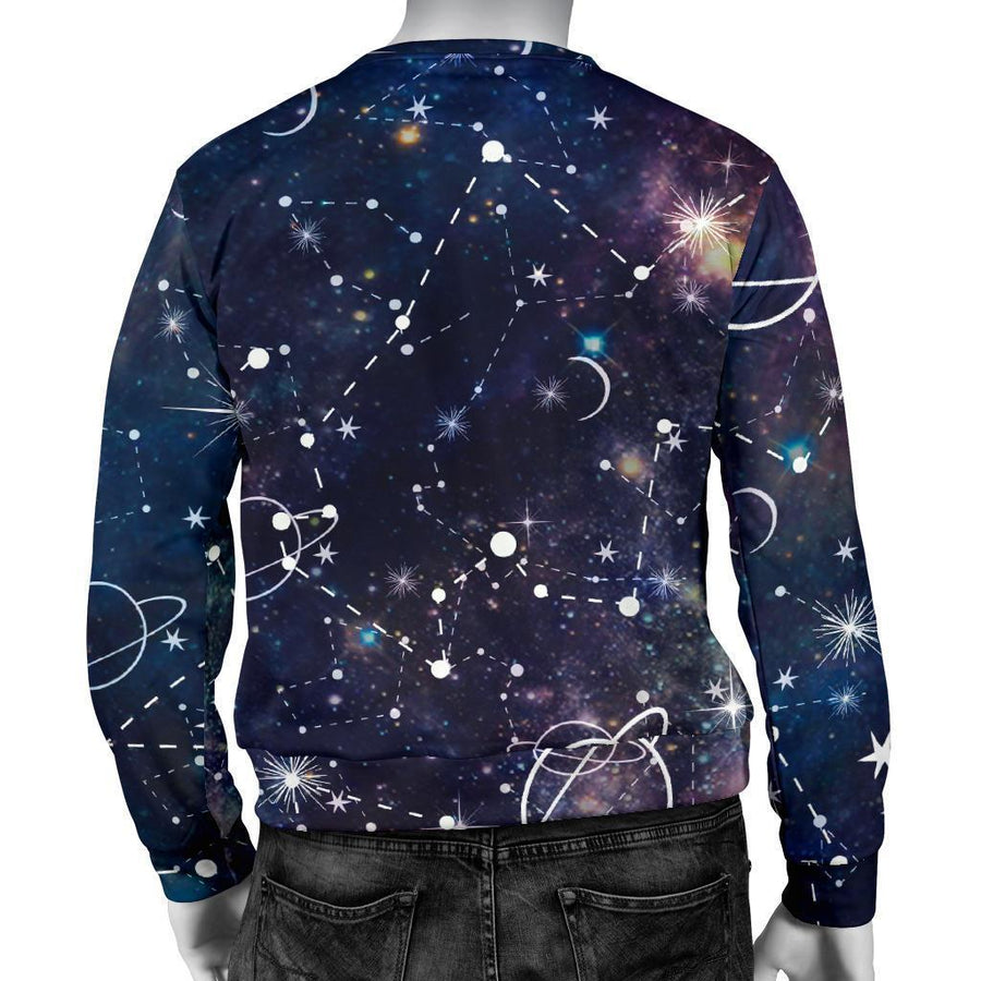 Constellation Galaxy Space Print Men's Crewneck Sweatshirt GearFrost