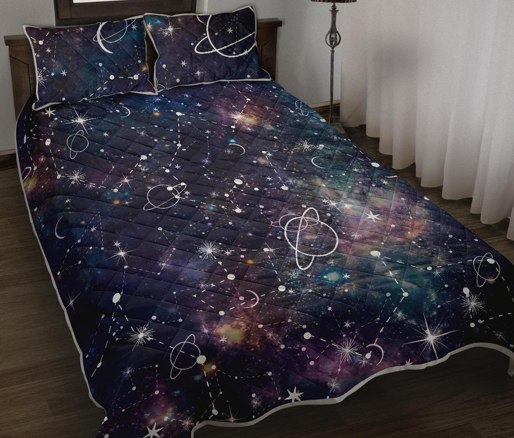 Constellation Galaxy Space Print Quilt Bed Set GearFrost