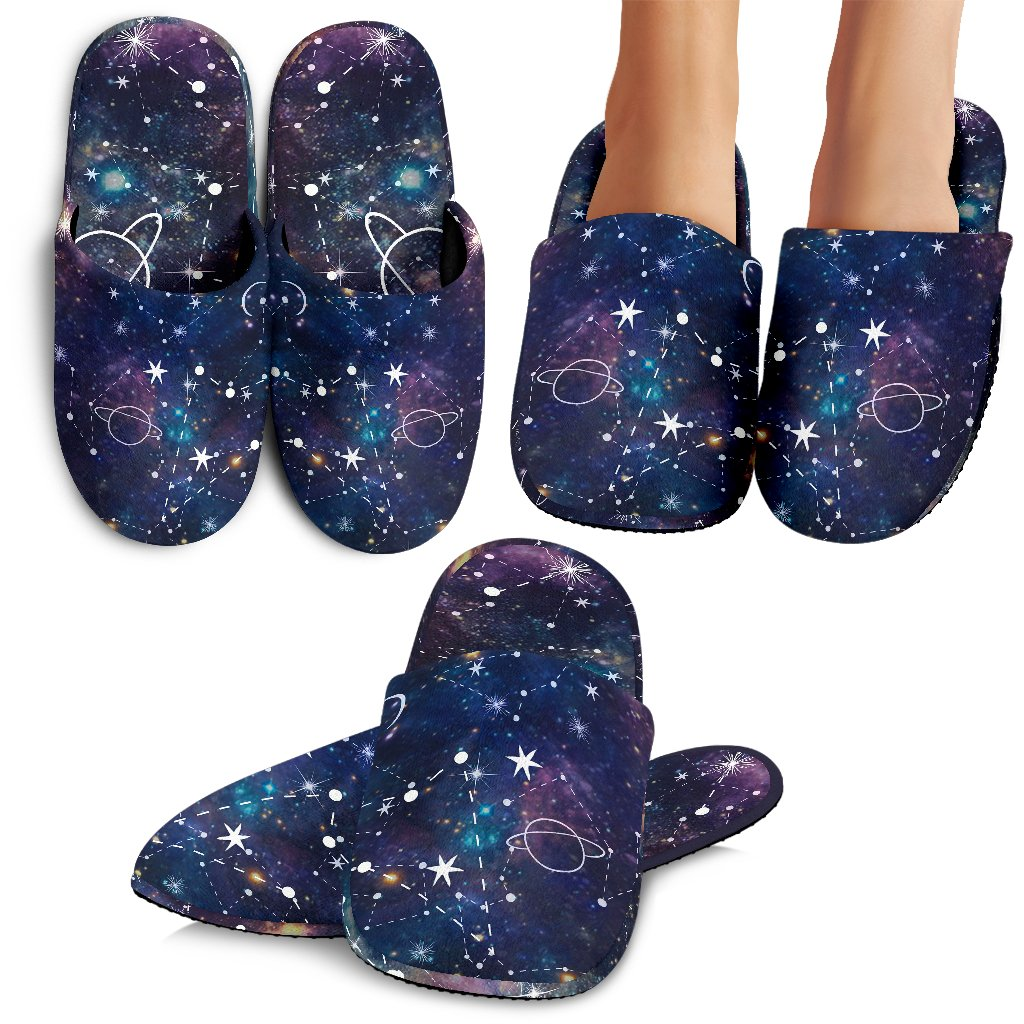Constellation Galaxy Space Print Slippers GearFrost