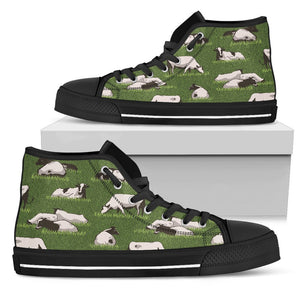 Cow On Green Grass Pattern Print Men's High Top Shoes GearFrost