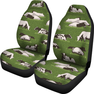 Cow On Green Grass Pattern Print Universal Fit Car Seat Covers GearFrost