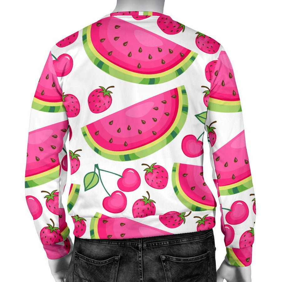 Cute Berry Watermelon Pattern Print Men's Crewneck Sweatshirt GearFrost