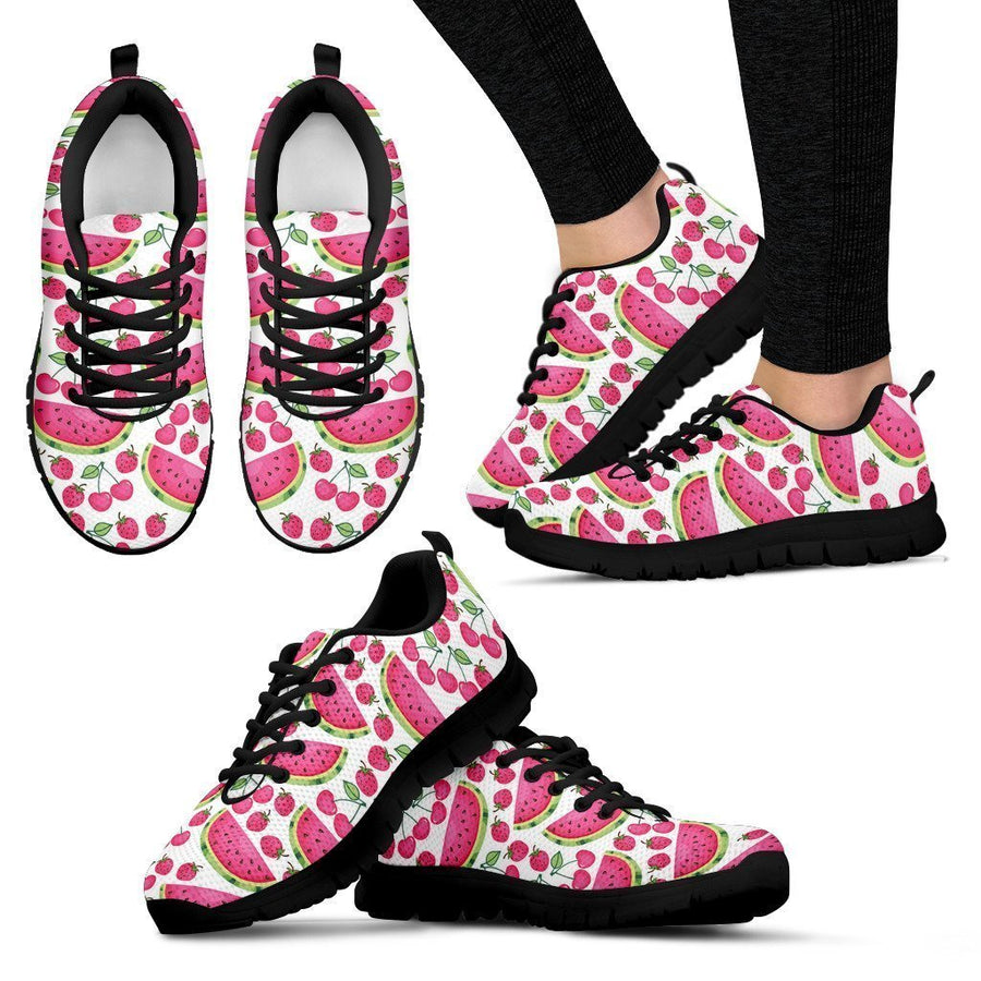 Cute Berry Watermelon Pattern Print Women's Sneakers GearFrost