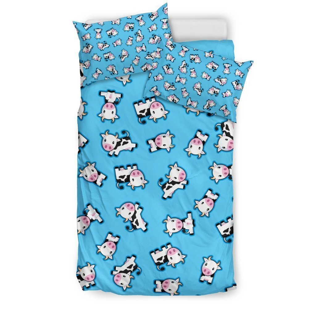Cute Cartoon Baby Cow Pattern Print Duvet Cover Bedding Set GearFrost