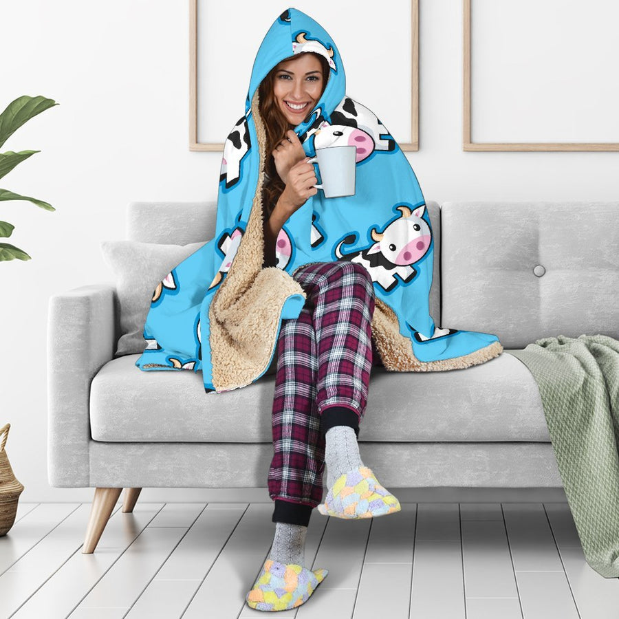 Cute Cartoon Baby Cow Pattern Print Hooded Blanket GearFrost