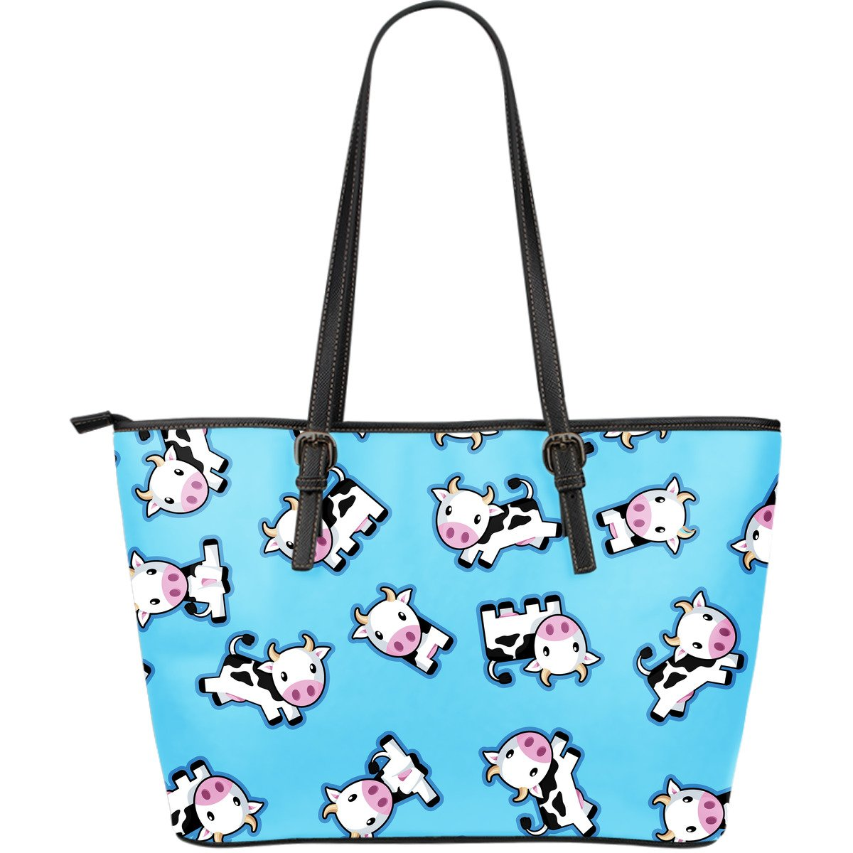 Cute Cartoon Baby Cow Pattern Print Leather Tote Bag GearFrost