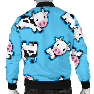 Cute Cartoon Baby Cow Pattern Print Men's Bomber Jacket GearFrost