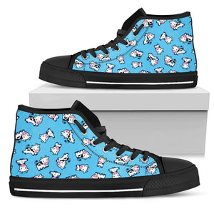 Cute Cartoon Baby Cow Pattern Print Men's High Top Shoes GearFrost