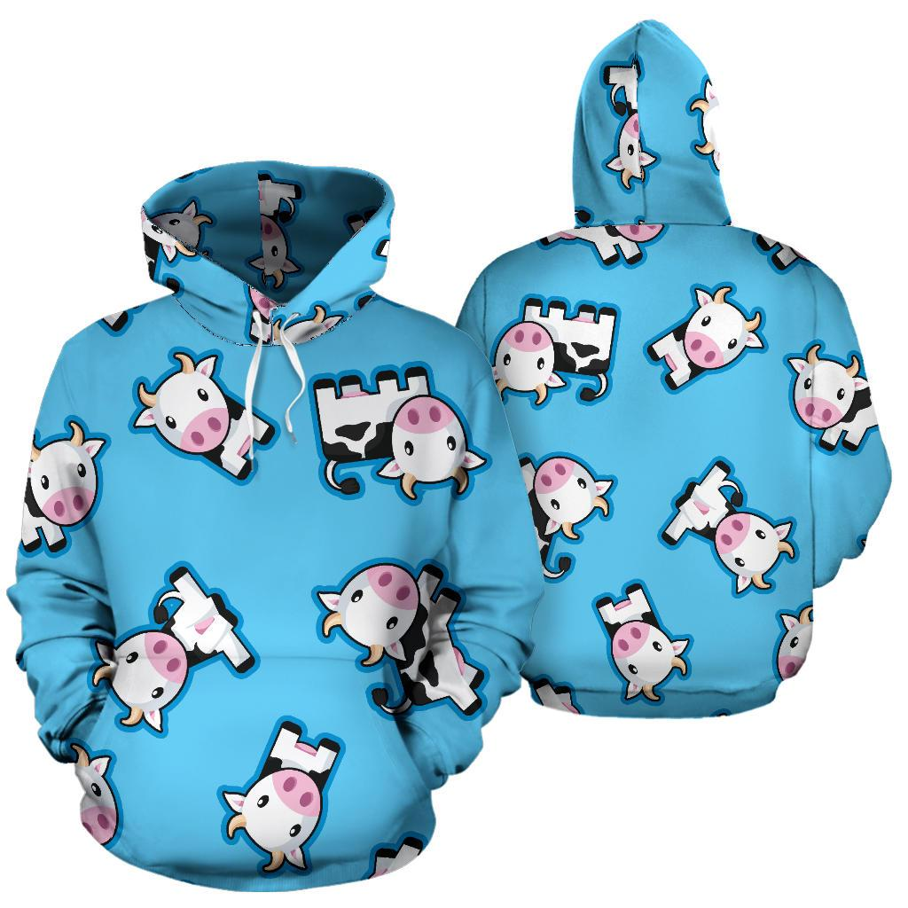 a0c7d871f Cute Cartoon Baby Cow Pattern Print Pullover Hoodie – GearFrost