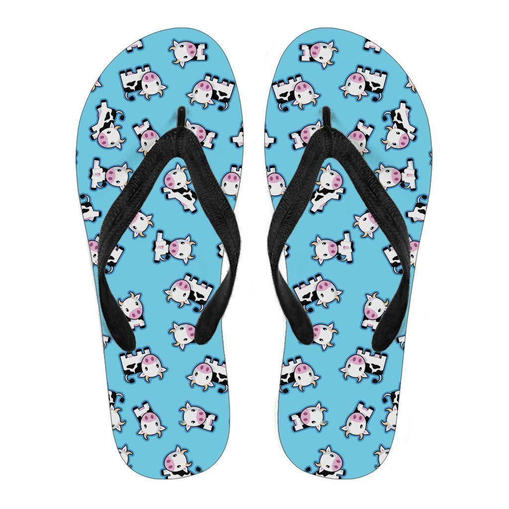 Cute Cartoon Baby Cow Pattern Print Women's Flip Flops GearFrost