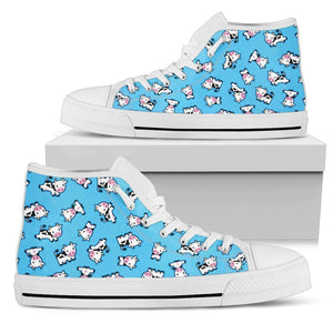 Cute Cartoon Baby Cow Pattern Print Women's High Top Shoes GearFrost