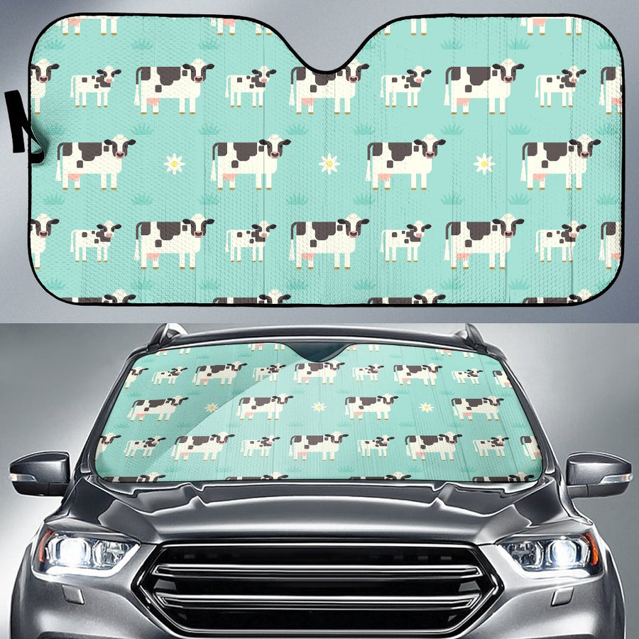 Cute Cow And Baby Cow Pattern Print Car Sun Shade GearFrost