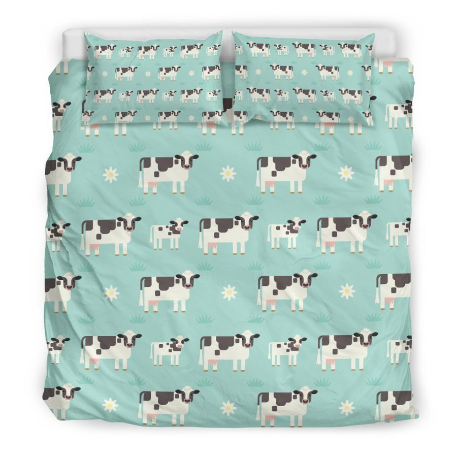 Cute Cow And Baby Cow Pattern Print Duvet Cover Bedding Set GearFrost