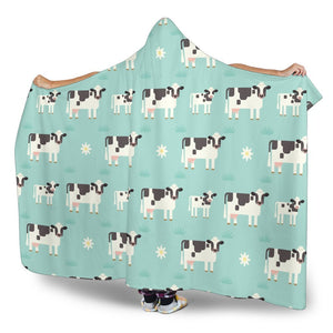 Cute Cow And Baby Cow Pattern Print Hooded Blanket GearFrost