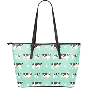 Cute Cow And Baby Cow Pattern Print Leather Tote Bag GearFrost