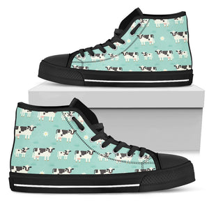 Cute Cow And Baby Cow Pattern Print Men's High Top Shoes GearFrost