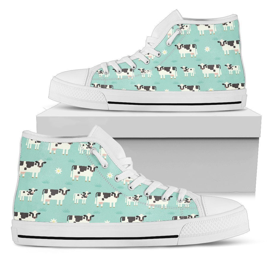 Cute Cow And Baby Cow Pattern Print Women's High Top Shoes GearFrost