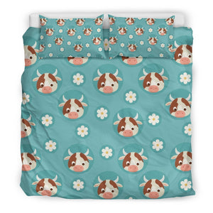 Cute Cow And Daisy Flower Pattern Print Duvet Cover Bedding Set GearFrost