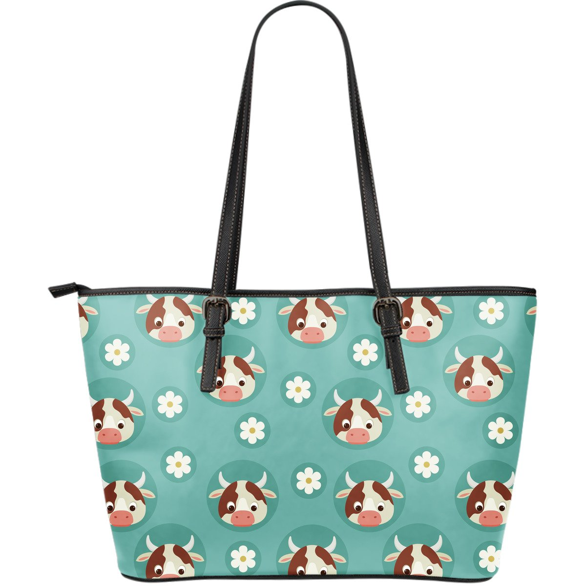 Cute Cow And Daisy Flower Pattern Print Leather Tote Bag GearFrost