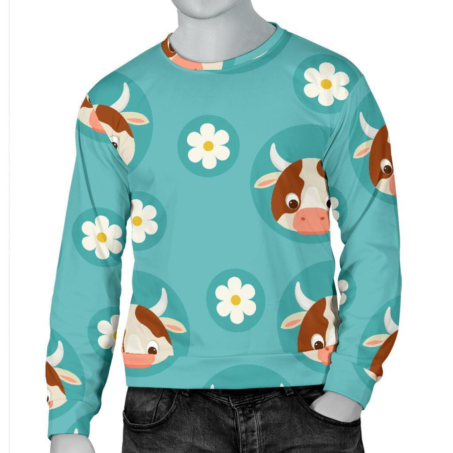Cute Cow And Daisy Flower Pattern Print Men's Crewneck Sweatshirt GearFrost