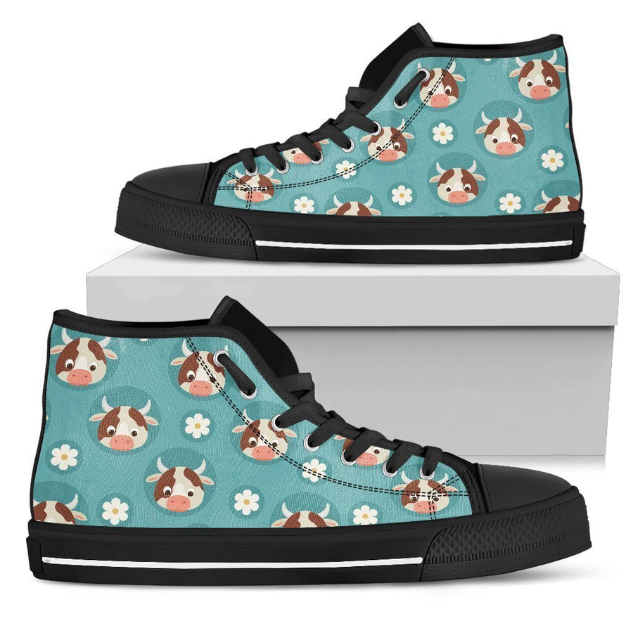 Cute Cow And Daisy Flower Pattern Print Men's High Top Shoes GearFrost