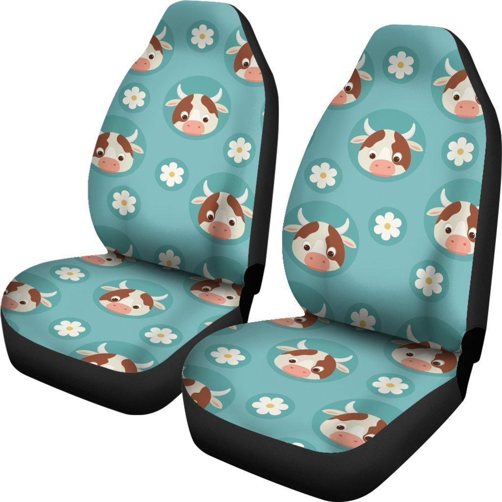 Cute Cow And Daisy Flower Pattern Print Universal Fit Car Seat Covers GearFrost