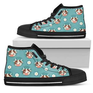 Cute Cow And Daisy Flower Pattern Print Women's High Top Shoes GearFrost
