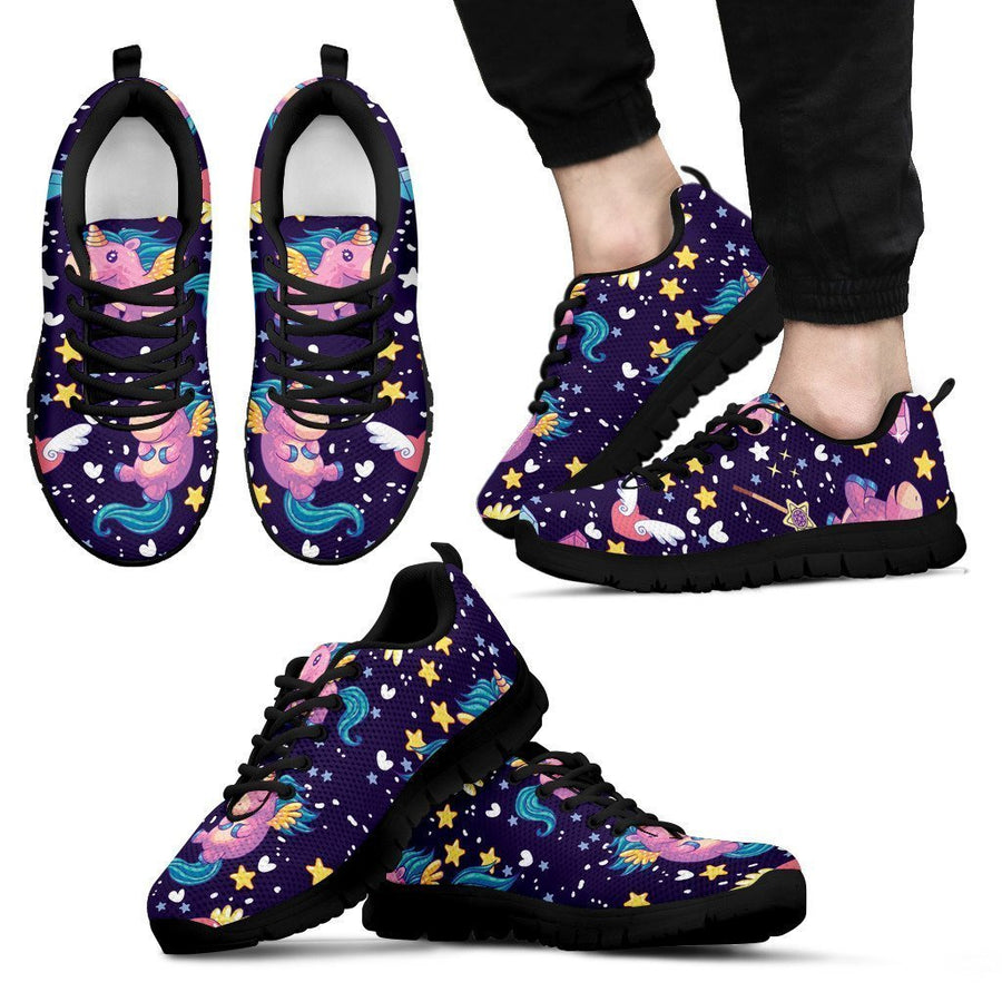 Cute Night Star Unicorn Pattern Print Men's Sneakers GearFrost