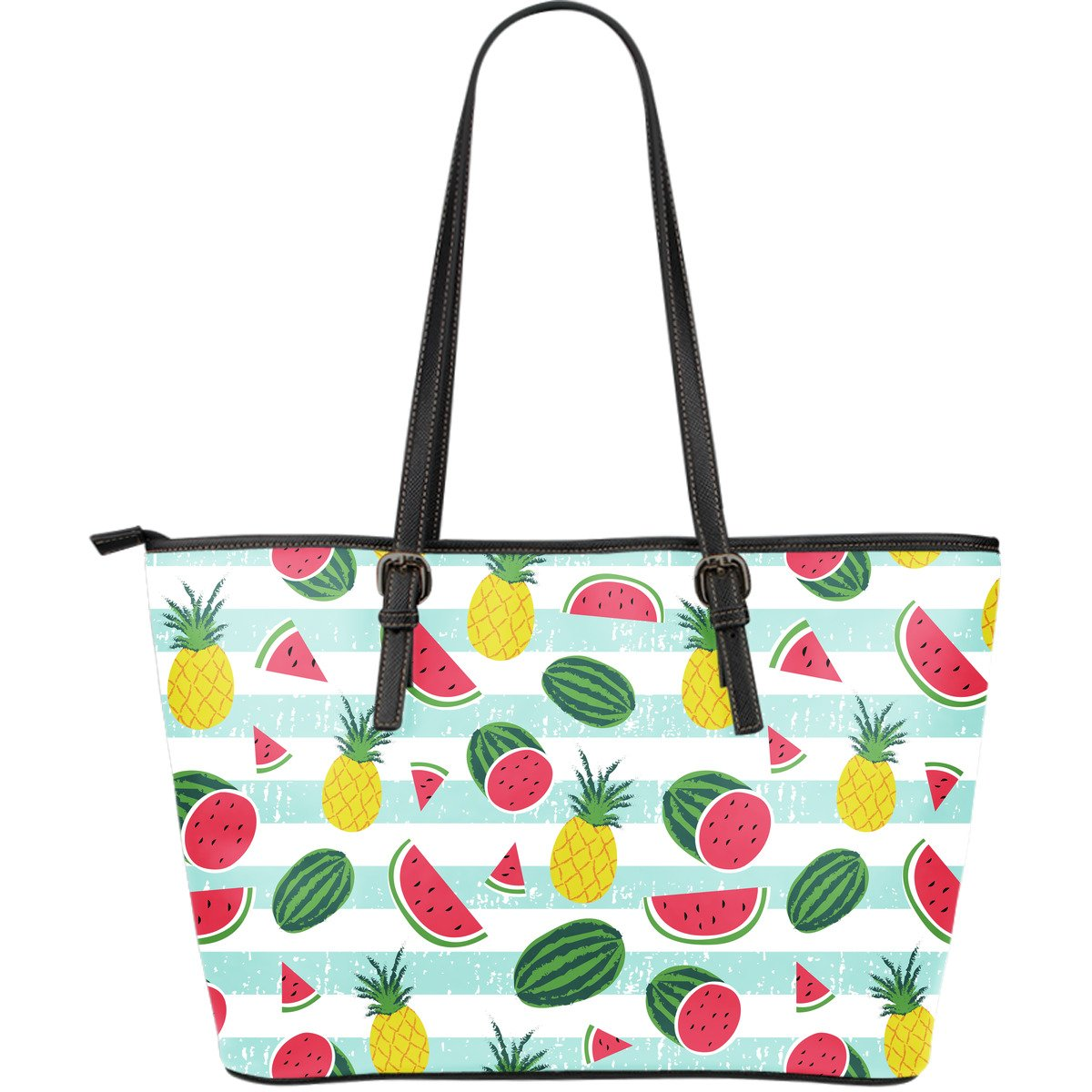 Cute Pineapple Watermelon Pattern Print Leather Tote Bag GearFrost