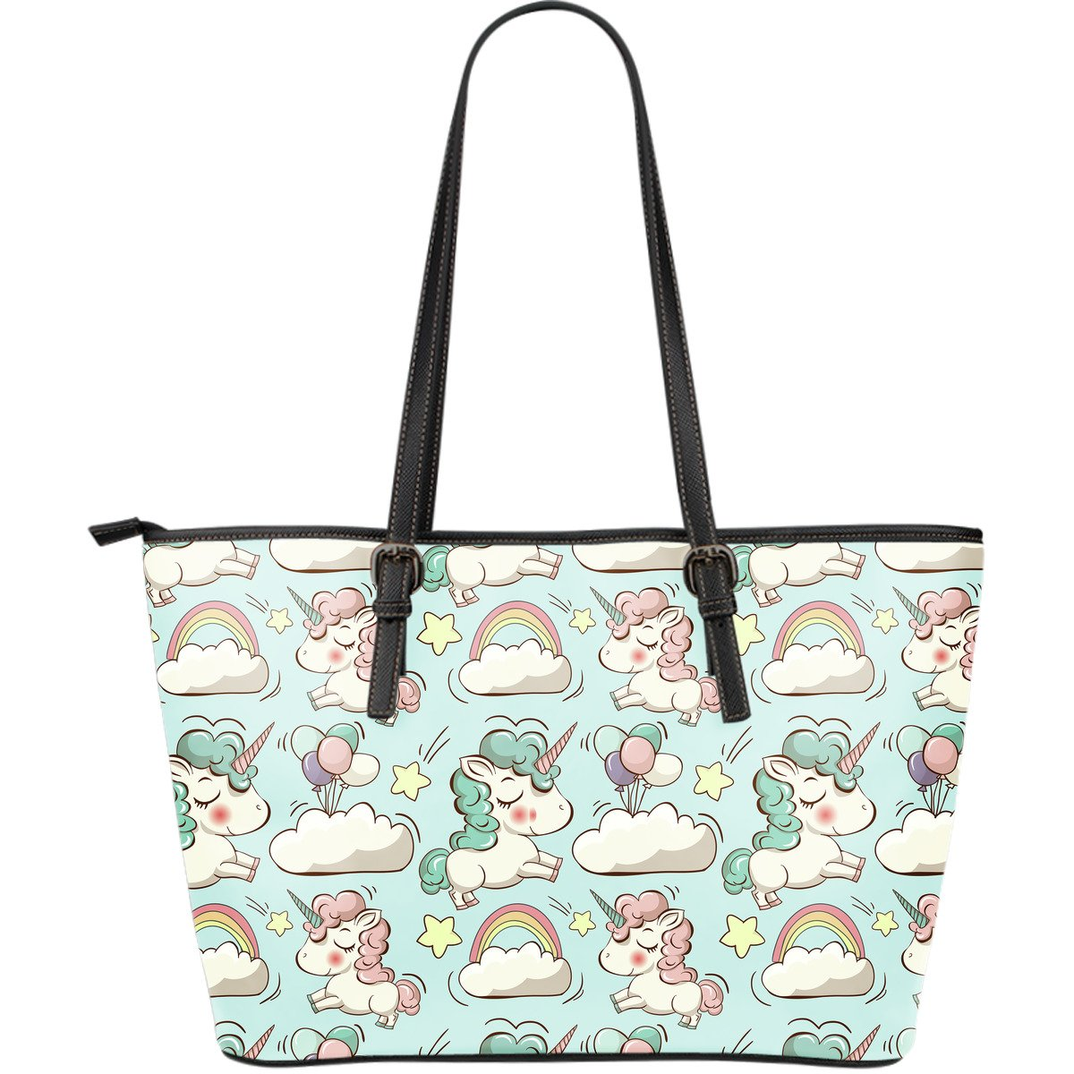 Cute Rainbow Unicorn Pattern Print Leather Tote Bag GearFrost