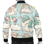 Cute Rainbow Unicorn Pattern Print Men's Bomber Jacket GearFrost