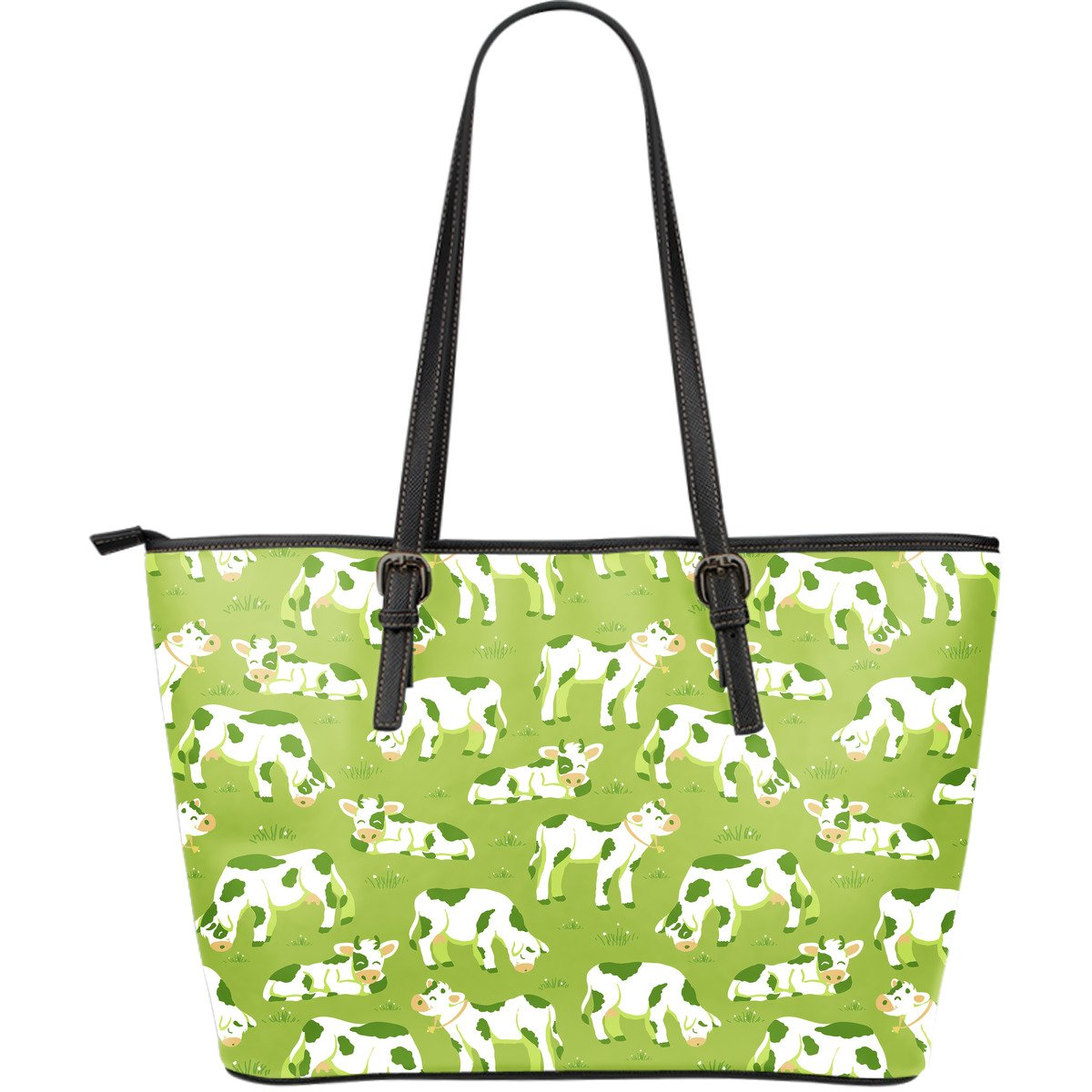Cute Smiley Cow Pattern Print Leather Tote Bag GearFrost