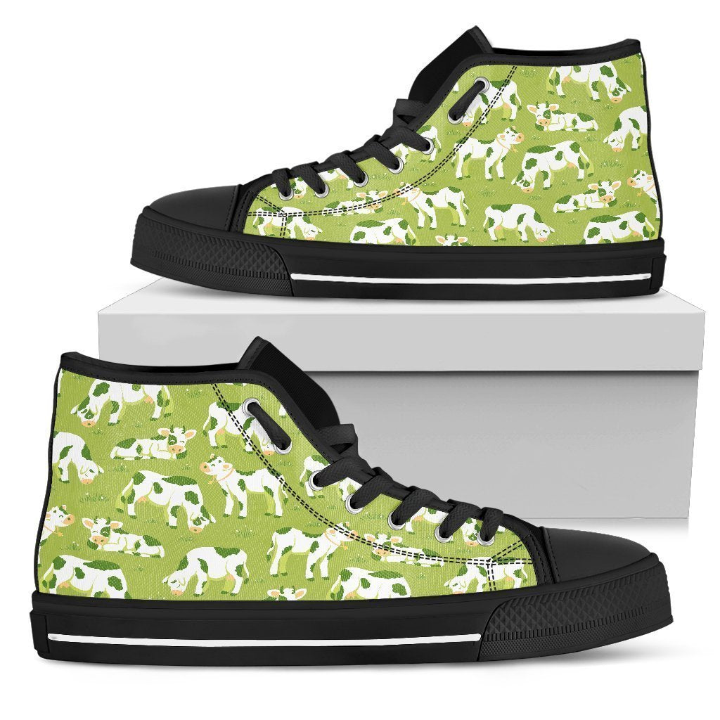 Cute Smiley Cow Pattern Print Women's High Top Shoes GearFrost